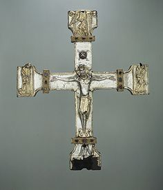 Processional Cross of the late 11th-early 12th century. Made in Asturias region of Spain, silver, partially gilt on wooden core, carved gems, jewels.