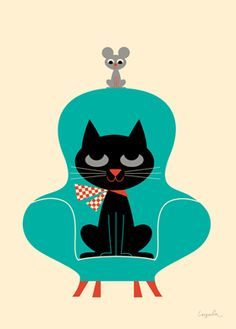 Cat art print - Ingela P Arrhenius