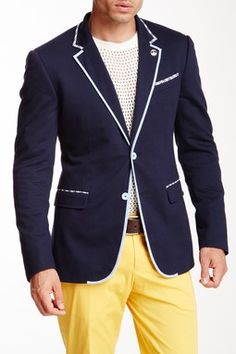 MOSCHINO Homme Solid Blue Notch Collar Single Button Blazer