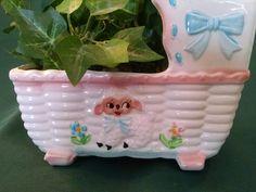 Vintage Music box, nursery planter, lamb baby planter, Rubens planter, baby nursery, nursery cradle, lamp planter, baby cradle planter, baby by Vintagepetalpushers on Etsy