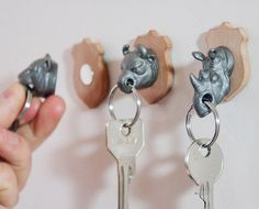 Rather than hunting down animals and mounting their trophy heads morbidly up on your wall, hunt down your lost keys instead and keep them securely on the wall where you can proudly find them again with these cool new Animal Head Key Holders.