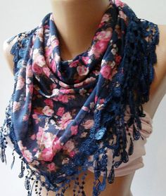 Dark Blue  Pink  flowered  Elegance  Shawl / Scarf with by womann, $19.00