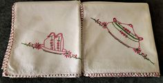 Vintage Kitchen Towels 2 Embroidery Cups Green Casserole Dish Pink 36x33 Large
