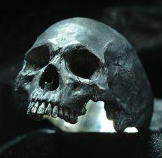 Skull ring Large half jaw silver mens skull biker by Bakogiorgis