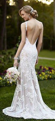 Sexy ropa sin espalda Vestidos De Novia Encaje, Vestidos De Novia Personalizadas Talla 2 4 6 8 10 12 14 16 +