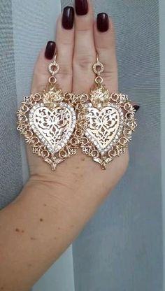 Big Earrings, Heart Earrings, Crystal Earrings, Flower Fashion, Crowns, Fashion Earrings, Baroque, Jewelery, Crochet Earrings