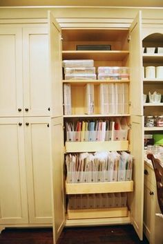 Jana Eubank: Scrap Room Tour - would love to know where she got these cabinets - they are great!