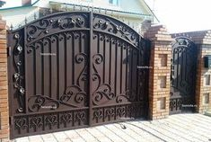Home Gate Design, Gate Wall Design, House Main Gates Design, Steel Gate Design, Front Gate Design, Wrought Iron Driveway Gates, Metal Garden Gates, Wrought Iron Doors, Iron Gates