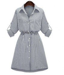 Trendy Long Sleeve A-Line Striped Shirt Collar Dress For Women Stylish Dresses, Casual Dresses For Women, Fashion Dresses, Office Outfits Women, Trendy Outfits, Dress Shirts For Women, Clothes For Women, Belted Shirt Dress, Collar Dress
