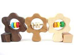 Natural Wood Baby Toy Rattle