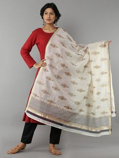 Multi Color Block Printed Cotton Silk Dupatta