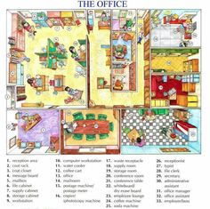 Learning the vocabulary for rooms in an office and things you might find in an office - From Easy Pace Learning