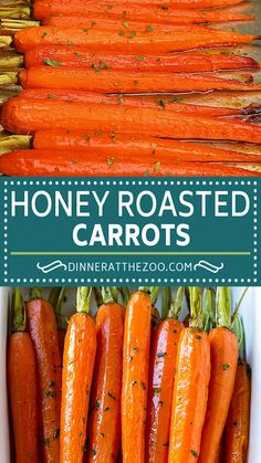 This recipe for honey roasted carrots is whole carrots, bathed in honey and seasonings, then roasted over high heat until tender and caramelized. A super easy yet elegant side dish! Honey Recipes, Rice Recipes, Potato Recipes, Vegetable Recipes, Cooking Recipes, Healthy Recipes, Honey Roasted Carrots, Oven Baked Chicken Parmesan, Vegetable Side Dishes