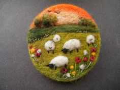 Hand Made Needle Felted Brooch/Gift - Sunset in the Meadow by Tracey Dunn pretty sheep inspired textile art jewellery craft design: