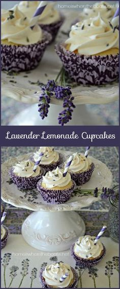 Lavender Lemonade Cupcakes, a quick and easy recipe using a boxed cake mix, frozen lemonade concentrate and dried culinary lavender!I wonder if I can make this recipe using coconut flour. Cupcake Recipes, Baking Recipes, Cupcake Cakes, Dessert Recipes, Herb Recipes, Healthy Recipes, Just Desserts, Delicious Desserts, Yummy Food