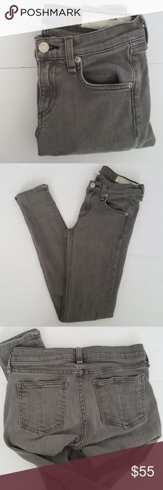 "Rag & Bone Gray Skinny Jeans Signature skinny jeans in ""Iron"" wash. Waist 13"" Rise 7"" Inseam 29""  98% cotton 2% polyurethane Small blue ink mark on top left thigh- as seen in 4th image. Overall in great pre-loved condition rag & bone Jeans Skinny"