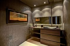 Wood, Concrete, Asian, Contemporary, Powder/Half Bath