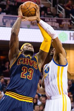 LeBron goes up for the shot against Andre Iguodala 2/26/2015.  Cavs beat the West leading Golden State Warriors 99 to 110!!!