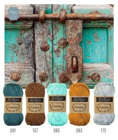 Turquoise, teal ,rust, gold color Scheme- Yarns or paint palette Yarn Color Combinations, Colour Schemes, Color Patterns, Colours That Go Together, Ideias Diy, Colour Pallette, Design Seeds, Color Swatches, Yarn Colors