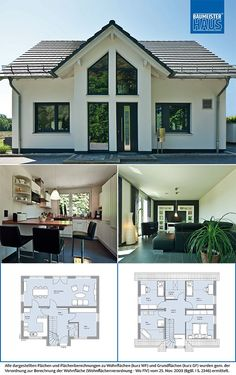 The facades of the approx. 135 single-family house are . House Architecture Styles, Residential Architecture, Architecture Design, Interior Paint Colors For Living Room, House Outside Design, Bright Rooms, Prefabricated Houses, Stonehenge, Home Design Plans