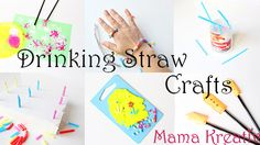 Drinking straw crafts for kids, painting and playing, sorter game, fine motor actvities, rocket, paper plane,  basteln malen und spielen mit strohhalmen rakete, flieger schmuck