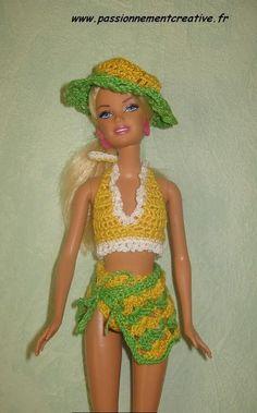 la Jamaïque de Sandrineh21 Crochet Simple, Crochet Top, Barbie Et Ken, Bustier, Maya, Creations, Knitting, Swimwear, Blog