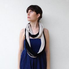 The colorblock noodle scarf handmade in black by birdienumnumshop