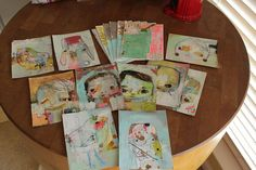 Mindy Lacefield says these cute paintings are for Mail Art... I want to be on her list of mail art friends...<3