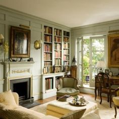 (paint color) Lightest, palest, celadon green library with gold gilt detailing. Home Interior, Interior And Exterior, Interior Decorating, Interior Design, Interior Door, Design Art, Living Area, Living Spaces, Living Room