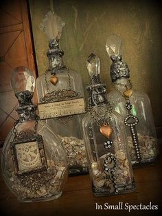 Soldered Bottles In Small Spectacles Sanctuary~Home Accents by In Small Spectacl… Gelötete Flaschen in Small Spectacles Sanctuary ~ Home Accents von In Small Spectacles Jewelry Altered Bottles, Vintage Bottles, Bottles And Jars, Vintage Perfume, Glass Jars, Small Bottles, Antique Bottles, Antique Glass, Perfume Bottles