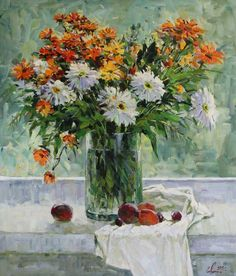 This summer bouquet that consists of camomiles and marigolds will be an excellent decorative element for your room and will remind you of summer all year round. Decorating Your Home, Etsy Seller, Bouquet, Creative, Handmade Gifts, Summer, Painting, Vintage, Art