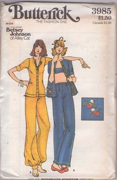 Butterick 3985 Vintage 70's Sewing Pattern FUN Casual Young Designer Betsey Johnson of Alley Cat Knits Button Up Cuffed Shirt Jacket Top, Wide Leg Pants, Genie Harem Ankle Band and Tennis Shoe Booties Appliques