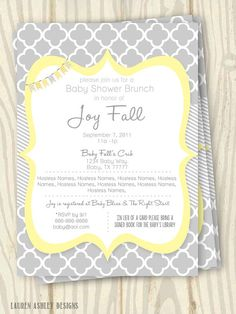Hey, I found this really awesome Etsy listing at https://www.etsy.com/listing/157003498/yellow-and-grey-baby-shower-invitation