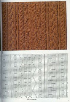 "Photo from album ""Узоры спицами on Yandex. Cable Knitting Patterns, Crochet Stitches Patterns, Knitting Charts, Knitting Stitches, Knitting Designs, Stitch Patterns, Crochet Tote, Knit Crochet, Crochet Borders"
