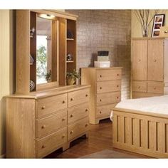 Shaker 6-Drawer Dresser and Mirror Set in Warm Oak with Lighting and Storage