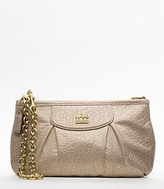 82b73d762744 COACH Madison Embossed Metallic Leather Large Wristlet With Chain Handbags  - All Handbags - Bloomingdale s