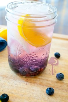 The Blueberry Crush: fresh blueberries, blueberry vodka, and ice cold filtered water