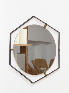 Specchio cornice ottone con decorazione collezione for Specchio esagonale