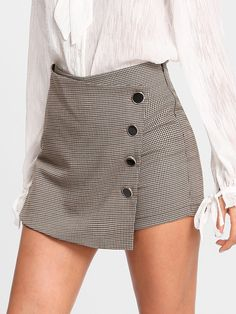 SheIn offers Asymmetrical Wrap Houndstooth Skorts & more to fit your fashionable needs. Cute Skirts, Short Skirts, Short Dresses, Mini Skirts, Skirt Outfits, Casual Outfits, Cute Outfits, Skirt Fashion, Fashion Outfits