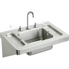 Elkay ESLV2820W6C Commercial Surgeons Lavatory Sink Package with 3 Faucet Holes
