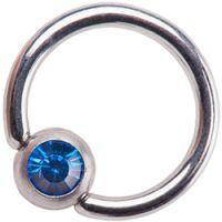 Surgical Steel Dark Blue Jewelled Ball Closure Rings
