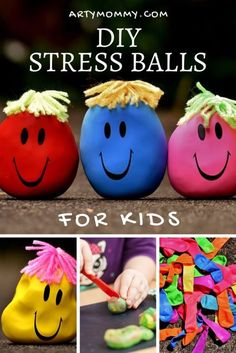 Make stress balls with your kids using balloons and play dough! The project is calming and fun, promoting sensory play and relaxation at the same time! Kids can draw different faces and expressions for each emotion on the DIY stress balls, so this is a gr Craft Activities, Toddler Activities, Emotions Activities, Summer Camp Activities, Steam Activities, Diy Stressball, Easy Diy, Games For Kids, Diy For Kids