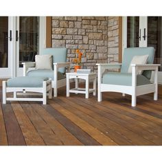 Club Polywood 4-Piece Deep Seating Set (White / Spa), Blue, Size 4-Piece Sets, Patio Furniture (Plastic)