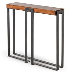 Pictured is the 34-inich wide Watson Console Table available in several with custom iron finishes and table top options to fit your unique style.