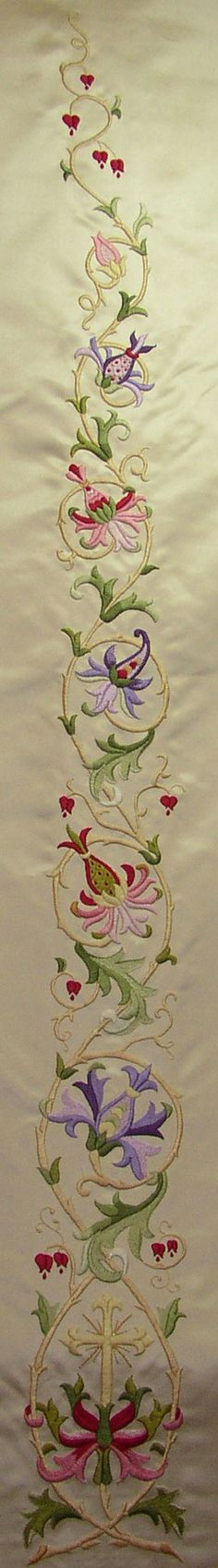Silk on Silk, Satin Stitch - Complete Stole Jacobean Embroidery, Types Of Embroidery, Embroidery Needles, Ribbon Embroidery, Cross Stitch Embroidery, Machine Embroidery Designs, Embroidery Patterns, Blackwork, Passementerie