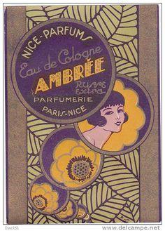 eau de cologne mimosa old french perfume label circa1948 art deco style sailing ebay eau de. Black Bedroom Furniture Sets. Home Design Ideas