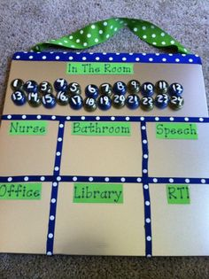 This would be a cool teacher gift for Cody's teacher!! Her kids are numbered from 1-22, and they do split up for enrichment, etc. this would be a handy tool for her to keep up with where her students are when they are in different places!! :)