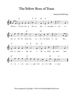 The Yellow Rose Of Texas, Lead Sheet With Melody, Lyrics And Chords.