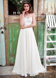 A-Line Spaghetti Straps Chiffon Floor Length Wedding Dress With Sweep
