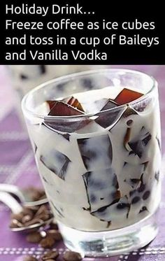 12 Pins of Christmas Freeze coffee as ice cubes and toss in a cup of Bailey's and Vanilla Vodka. Or instead of vodka, maybe kahlua.Freeze coffee as ice cubes and toss in a cup of Bailey's and Vanilla Vodka. Or instead of vodka, maybe kahlua. Party Drinks, Cocktail Drinks, Cocktail Recipes, Vodka Cocktails, Easy Vodka Drinks, Drink Recipes, Drunk Party, Birthday Drinks, Birthday Coffee